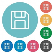 Flat save icon set on round color background. - Flat save icons