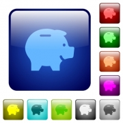 Piggy bank color glass rounded square button set - Piggy bank color square buttons