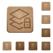 Set of carved wooden locked layers buttons in 8 variations. - Locked layers wooden buttons