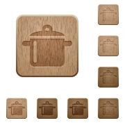 Set of carved wooden cooking buttons in 8 variations. - Cooking wooden buttons