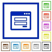 Set of color square framed login panel flat icons on white background - Login panel framed flat icons