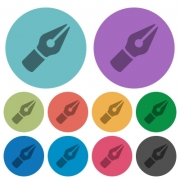 Color vector pen flat icon set on round background. - Color vector pen flat icons