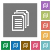Documents flat icon set on color square background. - Documents square flat icons