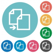 Flat copy icon set on round color background. - Flat copy icons