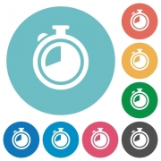 Flat timer icon set on round color background. - Flat timer icons