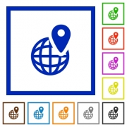 Set of color square framed GPS location flat icons on white background