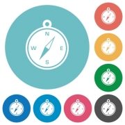 Flat compass icon set on round color background. - Flat compass icons