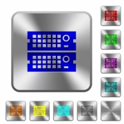 Engraved rack servers icons on rounded square steel buttons - Steel rack servers buttons