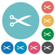 Flat cut icon set on round color background. - Flat cut icons