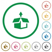 Set of unpack color round outlined flat icons on white background - Unpack outlined flat icons