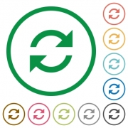 Set of refresh color round outlined flat icons on white background - Refresh outlined flat icons