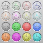 Set of Ruble piggy bank plastic sunk spherical buttons. - Ruble piggy bank plastic sunk buttons
