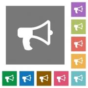 Megaphone flat icon set on color square background. - Megaphone square flat icons