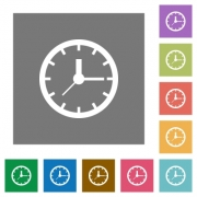 clock flat icon set on color square background. - Clock square flat icons