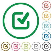Set of checkmark color round outlined flat icons on white background - Checkmark outlined flat icons