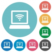Flat wireless laptop icon set on round color background. - Flat wireless laptop icons