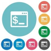 Flat OS terminal icon set on round color background. - Flat OS terminal icons
