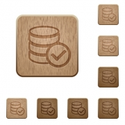 Set of carved wooden Database ok buttons in 8 variations. - Database ok wooden buttons