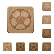 Set of carved wooden soccer ball buttons in 8 variations.