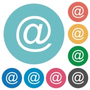 Flat email symbol icon set on round color background. - Flat email symbol icons