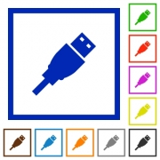 Set of color square framed USB plug flat icons on white background - USB plug framed flat icons