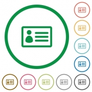 Set of ID card color round outlined flat icons on white background - ID card outlined flat icons