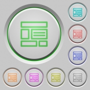 Set of color Web layout sunk push buttons. - Web layout push buttons