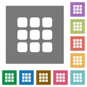 Small grid view flat icon set on color square background. - Small grid view square flat icons