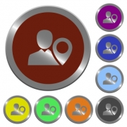 Set of color glossy coin-like user location buttons. - Color user location buttons