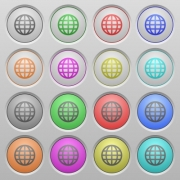 Set of globe plastic sunk spherical buttons. - Globe plastic sunk buttons