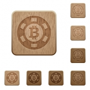 Set of carved wooden Bitcoin casino chip buttons in 8 variations. - Bitcoin casino chip wooden buttons