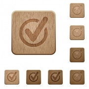 Set of carved wooden Checked data buttons in 8 variations. - Checked data wooden buttons
