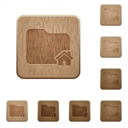 Set of carved wooden home folder buttons in 8 variations. - Home folder wooden buttons