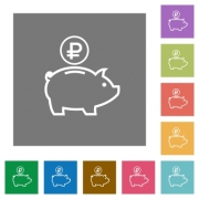 Ruble piggy bank flat icon set on color square background. - Ruble piggy bank square flat icons