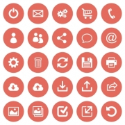 Set of 25 flat web icons on red round background - Set of 25 flat web icons