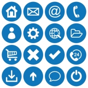 Set of 16 basic flat icons on blue round background