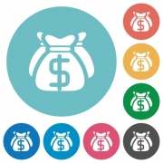 Flat dollar bags icon set on round color background. - Flat dollar bags icons