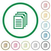 Set of documents color round outlined flat icons on white background - Documents outlined flat icons
