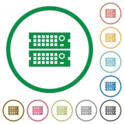 Set of rack servers color round outlined flat icons on white background - Rack servers outlined flat icons