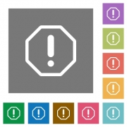 Error flat icon set on color square background. - Error square flat icons