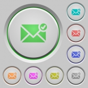 Set of color mail sent sunk push buttons. - Mail sent push buttons