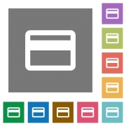 Credit card flat icon set on color square background. - Credit card square flat icons