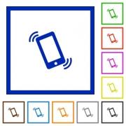 Set of color square framed Ringing phone flat icons on white background - Ringing phone framed flat icons