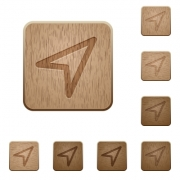 Set of carved wooden Direction arrow buttons in 8 variations. - Direction arrow wooden buttons
