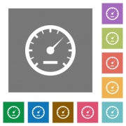 Speedometer flat icon set on color square background. - Speedometer square flat icons