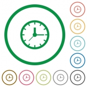 Set of clock color round outlined flat icons on white background - Clock outlined flat icons
