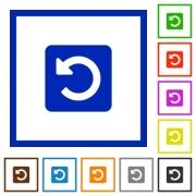 Set of color square framed rotate left flat icons on white background - Rotate left framed flat icons