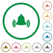 Set of Ringing bell color round outlined flat icons on white background - Ringing bell outlined flat icons