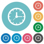 Flat clock icon set on round color background. - Flat clock icons
