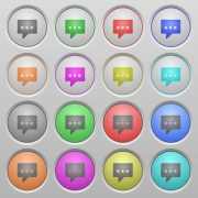 Set of working chat plastic sunk spherical buttons. - Working chat plastic sunk buttons